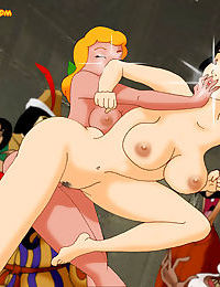 Snow white versus cinderella naked in a smack down fight - part 3370